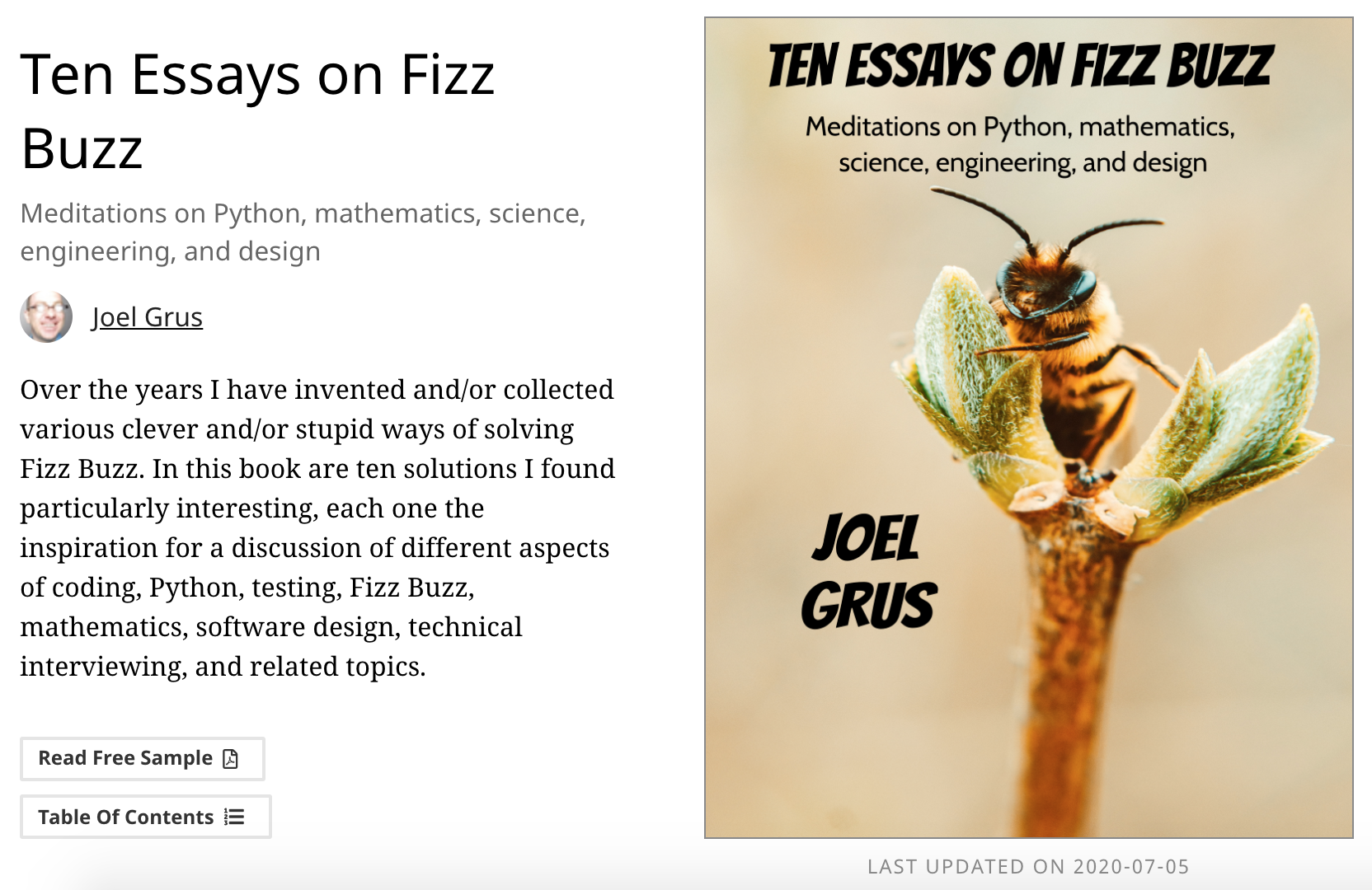 Over the years I have invented and/or collected various clever and/or stupid ways of solving Fizz Buzz. In this book are ten solutions I found particularly interesting, each one the inspiration for a discussion of different aspects of coding, Python, testing, Fizz Buzz, mathematics, software design, technical interviewing, and related topics.